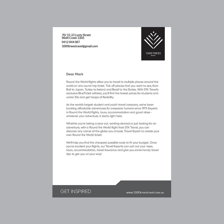 1000 Trees Travel Letterhead